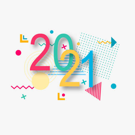 Creative design of a New Year card of 2021 on a modern background. Bright poster in the style of Memphis. Base of geometric elements and color numbers. Ilustracja