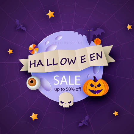 Halloween modern minimal design template for website, greeting or promo banner, paper cut style flyer with cute pumpkin and other traditional halloween elements on dark background.