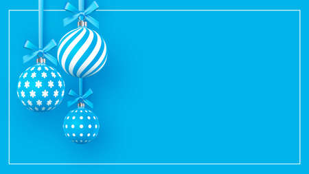 Christmas gently blue baubles with geometric patterns. Abstract Christmas background in pastel colors. A place for your text. Vector illustration.