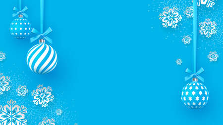 Christmas gently blue baubles with geometric patterns and snowflakes. Abstract Christmas background in pastel colors. A place for your text. Vector