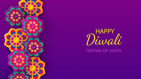 Diwali festival holiday design with paper cut style of Indian Rangoli and flowers. Vector