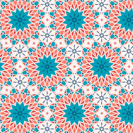 Seamless decorative ornament in ethnic oriental style. Circular pattern in the form of a mandala.Vector