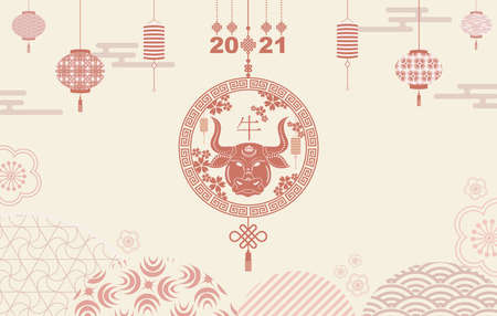 Happy new year 2021. A horizontal banner with Chinese elements of the new year.Translation from Chinese - Happy New Year, bull symbol