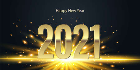 Golden numbers 2021 with bright flash on black background. Happy New Year Vector