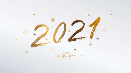 Banner with golden brush 2021. Happy New Year elegant business background. Isolated brush shapes 2021. Vector