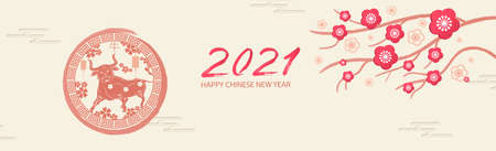 Happy new year 2021. A horizontal banner with Chinese elements of the new year.Translation from Chinese - Happy New Year, bull symbol Zdjęcie Seryjne - 158791863