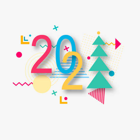 Creative design of a New Year card of 2021 on a modern background. Bright poster in the style of Memphis. Base of geometric elements and color numbers. Vector i Zdjęcie Seryjne - 158791868