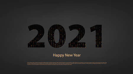 Happy new year 2021 banner. Elegant design of black and gold numbers on a black background. Elements for calendar and greeting cards, text, mobile applications. vector Ilustracja