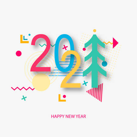 Creative design of a New Year card of 2021 on a modern background. Bright poster in the style of Memphis. Base of geometric elements and color numbers. Vector i Ilustracja