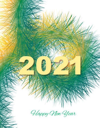 Festive background Christmas or New Year. Abstract Christmas yellow-green fir branch with numbers 2021. Holiday background. Vector Zdjęcie Seryjne - 158791882