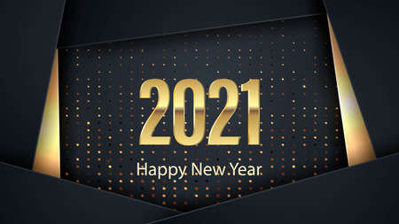 Happy new year 2021 banner. Elegant design of black and gold numbers on a black background. Elements for calendar and greeting cards, text, mobile applications. Vector illustration  イラスト・ベクター素材