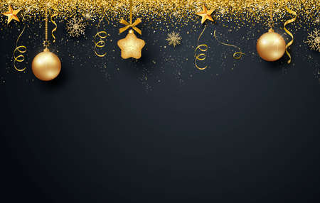 Greeting card, invitation with happy New year 2021 and Christmas. Metallic gold Christmas balls, decoration, shimmering, shiny confetti on a black background. Vector  イラスト・ベクター素材