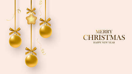 Christmas card. Design of Christmas decorations hanging on a ribbon and snowflakes. Merry Christmas and Happy New Year. Vector illustration