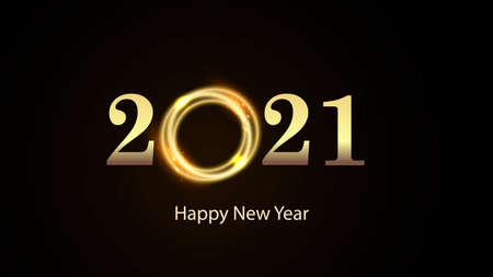 Golden numbers 2021 with bright flash on black background. Happy New Year Vector illustration
