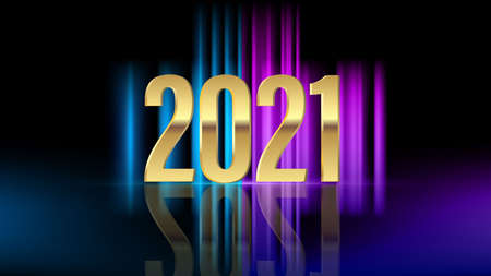 Golden numbers 2021 with bright flash on dark neon background. Happy New Year. Vector illustration.