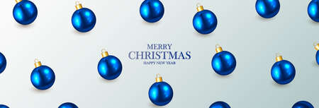 Abstract elegant banner with blue Christmas balls and place for text. Happy New Year. Vector illustration.  イラスト・ベクター素材