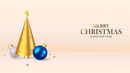 Happy New Year. Christmas background design, fir tree, decorative balls. Festive gift card, holiday poster, web banner, header for website. Vector illustration Zdjęcie Seryjne - 159151911