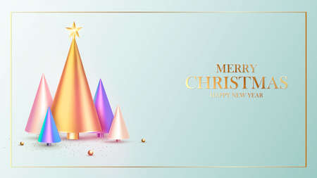 Happy New Year. Christmas background design, fir tree, decorative balls. Festive gift card, holiday poster, web banner, header for website. Vector illustration Zdjęcie Seryjne - 163117945
