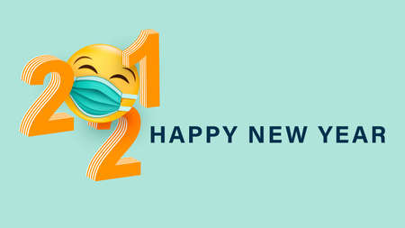 Happy New Year 2021.3d number with a smiling yellow face in a medical mask. Festive postcard. Vector