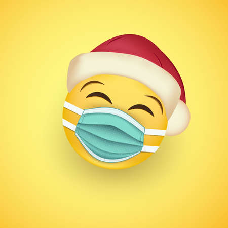 Smiley face in protective surgical mask and santa hat.