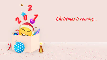 Happy New Year. Christmas background design, fir tree, decorative balls.Festive gift card, holiday poster, web banner, header for website. Vector Zdjęcie Seryjne - 160498232