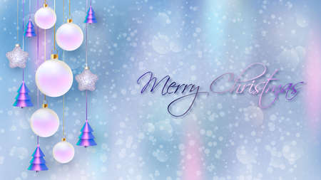Happy New Year. Christmas background design with decorative balls with blurred background. Holiday gift card, holiday poster, web banner, header for website. Vector