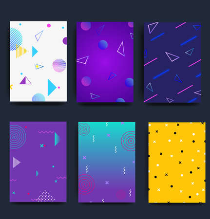 Collection of creative universal art postcards. Hand drawn texture. Trendy graphic design for banner, poster, card, cover, invitation, brochure, flyer. Brush stroke imitation .Vector Zdjęcie Seryjne - 160498242