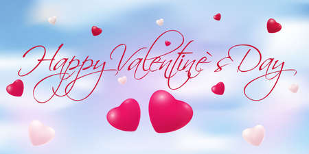 Abstract blue background in the form of sky with bright hearts. Happy Valentine s Day. Vector Ilustracja