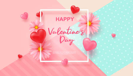 Realistic 3D colorful red and pink romantic Valentine s day hearts background, floating Happy Valentine s Day greetings. Pink Daisies. Be My Valentin.Vector