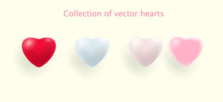 Hearts realistic decoration 3d object. Set of Romantic Symbol of Love Heart isolated. Vector Ilustracja