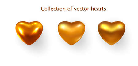 Gold colored Hearts realistic decoration 3d object. Set of Romantic Symbol of Love Heart isolated. Vector