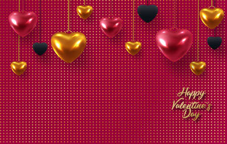 3d metallic gold and red hearts on a bright red background. Decorative love concept for valentines day or wedding. Sale banner. Place for your text.
