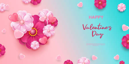 Realistic 3D colorful romantic valentine background with hearts and flowers. Happy Valentine s Day greetings. Vector