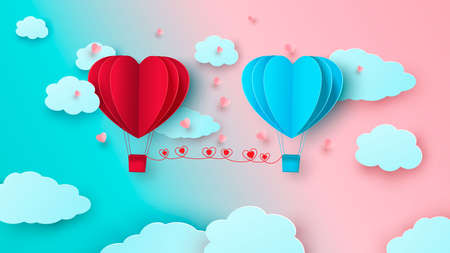 Two balloons in the form of hearts on the background of the sky with clouds. Happy valentine s day. Vector Zdjęcie Seryjne - 162213954