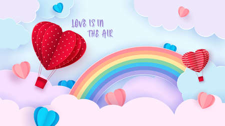 Valentine s day background with heart shaped balloon flying through the clouds. Romantic paper art in origami style. Vector Zdjęcie Seryjne - 162213959