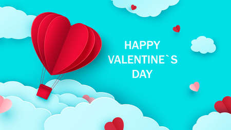 Valentine s day background with heart shaped balloon flying through the clouds. Romantic paper art in origami style. Vector Ilustracja