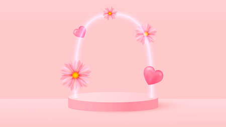 3d render of pink love valentine pastel stages background or texture. Bright pastel podium or pedestal backgrounds. Vector Ilustracja