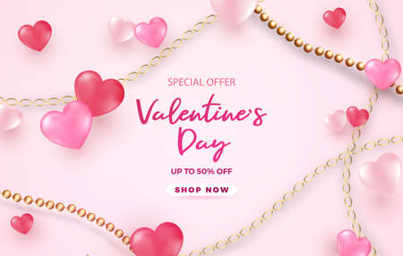 Valentine s Day sale background.Romantic composition with hearts . Vector illustration for website , posters,ads, coupons,