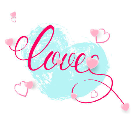 Love pink hand drawn brush calligraphy. Decorated with hearts.Vector illustration