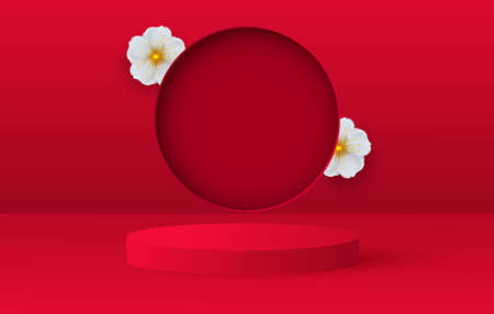3d render of love valentine stages background or texture. Bright red festive podium or pedestal backgrounds.Flower decorations Vector