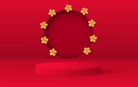 3d render of love valentine stages background or texture. Bright red festive podium or pedestal backgrounds. Flower decorationsVector Ilustracja