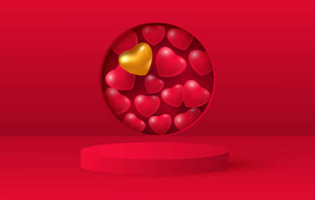 3d render of love valentine stages background or texture. Bright red festive podium or pedestal backgrounds. Vector