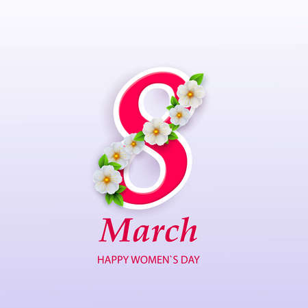 March 8. International Women Day. Vector spring holiday illustration. Paper cutout number eight with colorful flower garland. Origami style banner. Feminism concept. Floral decoration