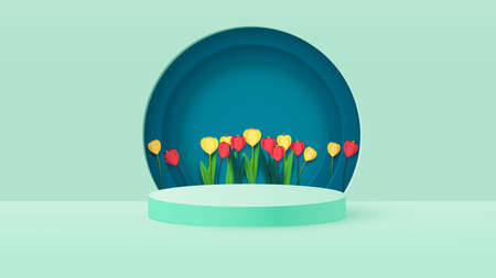 3d render of a podium box with spring flowers. Bright tulips, podium or pedestal backgrounds. Vector Ilustracja