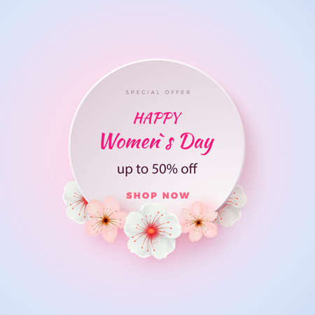 Abstract Floral Greeting card with 8 March - paper cut style greeting card, gift card. International Women s Day. Applique Trendy Design Template. Vector
