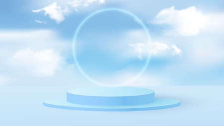 Background vector 3D blue rendering with podium and minimal cloudy scene. Minimal product display background 3d render of geometric shape sky blue pastel cloud with flying blue balloons. Vector