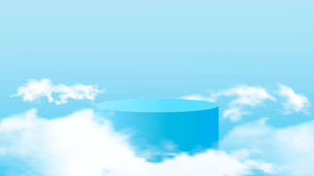 Background vector 3d blue rendering with podium and minimal cloudy scene. Minimal product display background of 3d rendered geometric shape sky blue cloud pastel.Vector