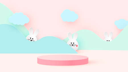 Round podium or pedestal on the minimum stage platform. Mockup studio for product presentation, branding design. Easter bunnies.Vector