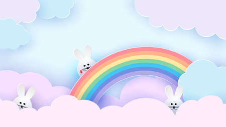 Happy Easter greeting card. Easter bunny on a rainbow. The sky is in pastel colors. Vector
