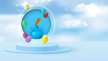Minimal scene with Easter bunny and eggs on a background of clouds. Cylindrical podium in light blue. Stage for product demonstration, showcase. Vector
